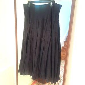 Eyeshadow Tiered Cotton Midi Skirt